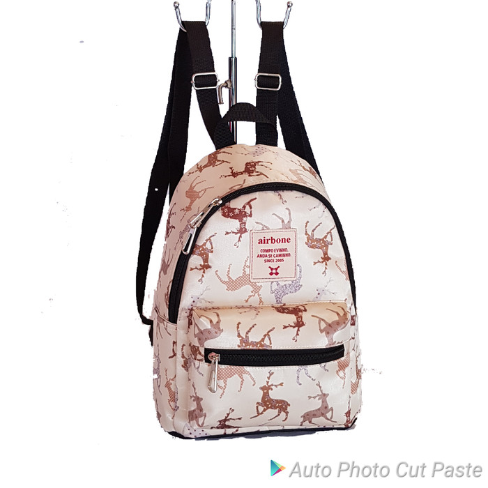 Foto Produk tas ransel ori motif paris/tas mini ori/tas kecil airbone/tas ransel. - Merah Muda dari TAS AIR BONE