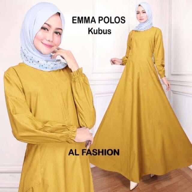 Jual Baju Gamis Wanita Maxi Emma Polos Ukuran Jumbo Busana Muslim