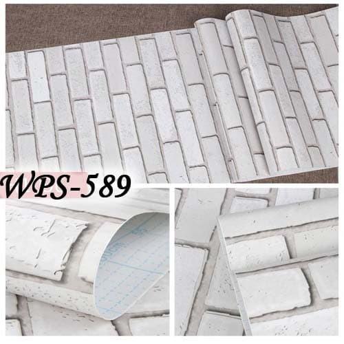 Jual WPS589 BATA PUTIH 3D WALLPAPER STICKER WAL PAPER