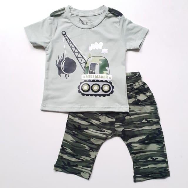 Baju Setelan Anak Laki Cowok Kaos Tank Wrecker Celana Katun Army
