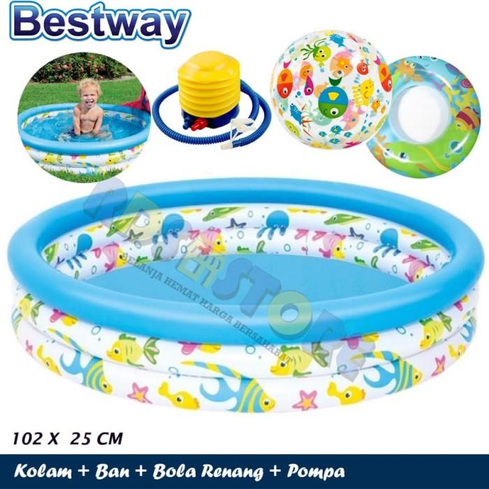 Bestway kolam renang anak 51008 102x25 cm + bola + ban + pompa f584f57ed7