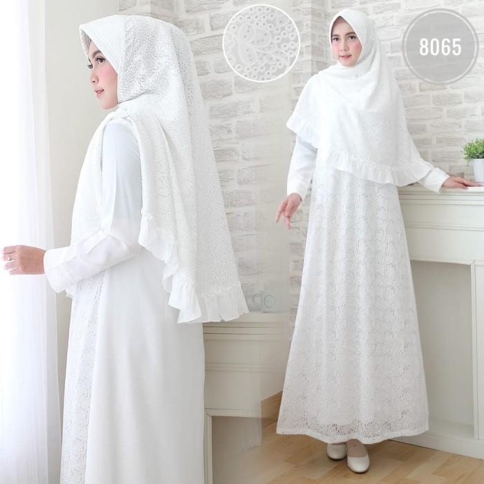 Foto Produk Baju Syari Wanita / Gamis Putih / Muslim Wanita #8065 G STD - Putih, M dari Agnes Fashion88