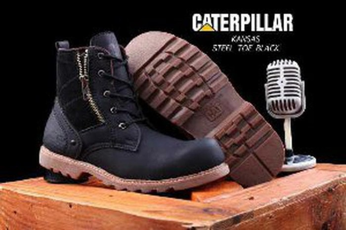 sepatu boots caterpillar kansas safety tracking ujung besi