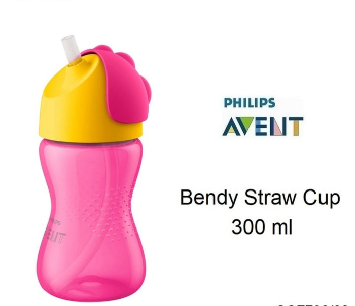 Philips Avent - Bendy Straw Cup 300ml PINK / Botol minum anak