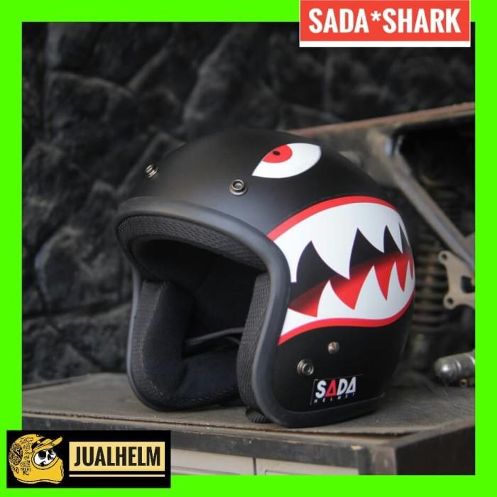 harga Helm sada shark matte black - helm retro - helm classic Tokopedia.com