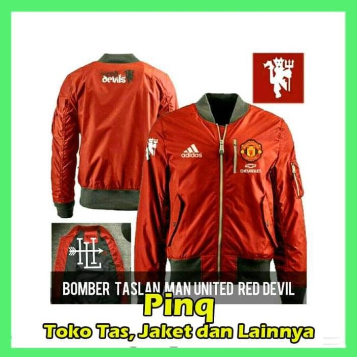 JAKET BOMBER MU FC RED DEVIL MODEL TERBARU PARKA PRIA ORIGINAL - Navy