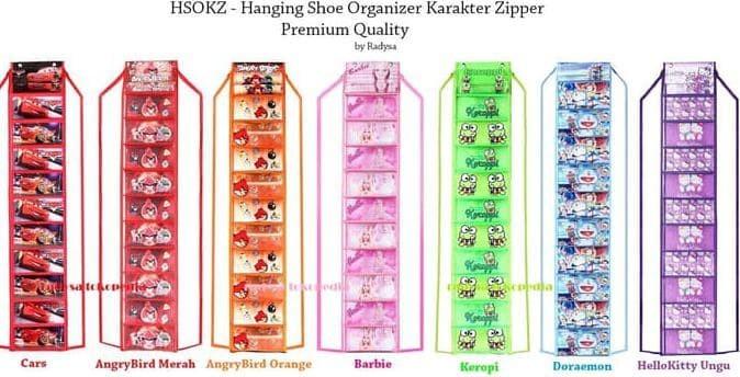SALEDAPUR HANGING SHOES ORGANIZER KARAKTER ZIPPER / RAK SEPATU GANTUNG
