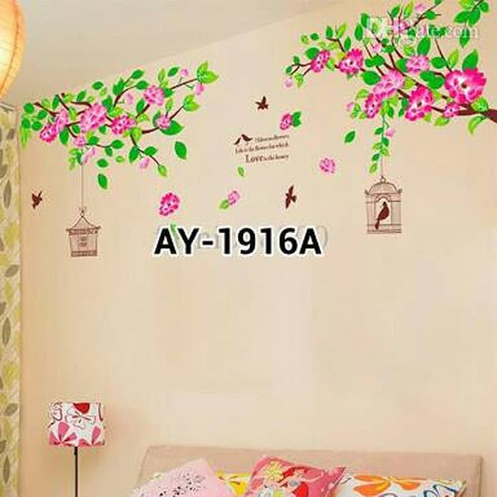 jual jual wallsticker ay-1916a dua sangkar burung sticker dinding