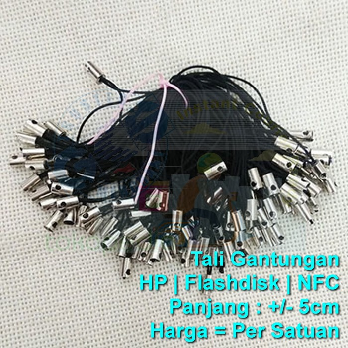 Jual Tp Tali Gantungan Handphone Hp Usb Flashdisk Nfc Id 5cm Hitam