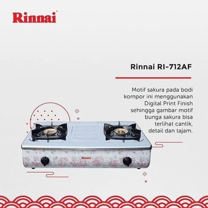Jual Kompor Gas Rinnai RI712AF 2 Tungku Motif Sakura