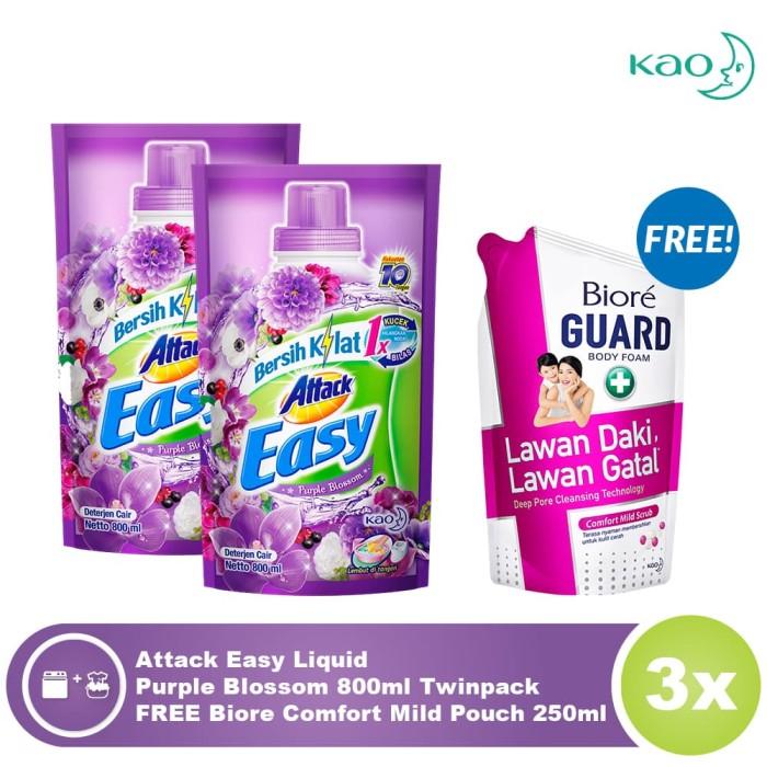 Attack easy liquid purple blossom twinpack free biore comfort mild