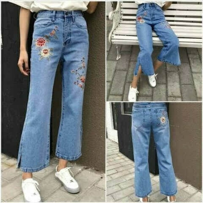 Celana wanita pant cutbray slit rose dark bhn jeans washed+bordir