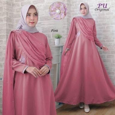 Jual 5943 Gaun Pesta Wanita Terbaru Baju Gamis Syari Pink Maxidress