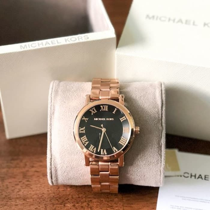 8f12bd6e41f7 Jual Michael Kors Norie Black Dial Ladies Rose Gold Tone Watch ...