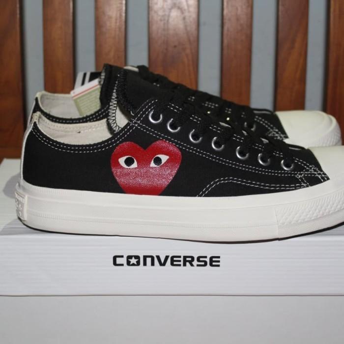 Jual Grosir Sepatu Converse CDG Black White Premium Import Vietnam ... 24316c882