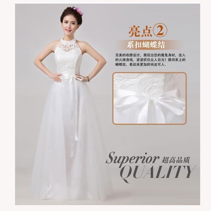 Jual Gaun Pesta Panjang Warna Putih Model Leher Brokat Tile