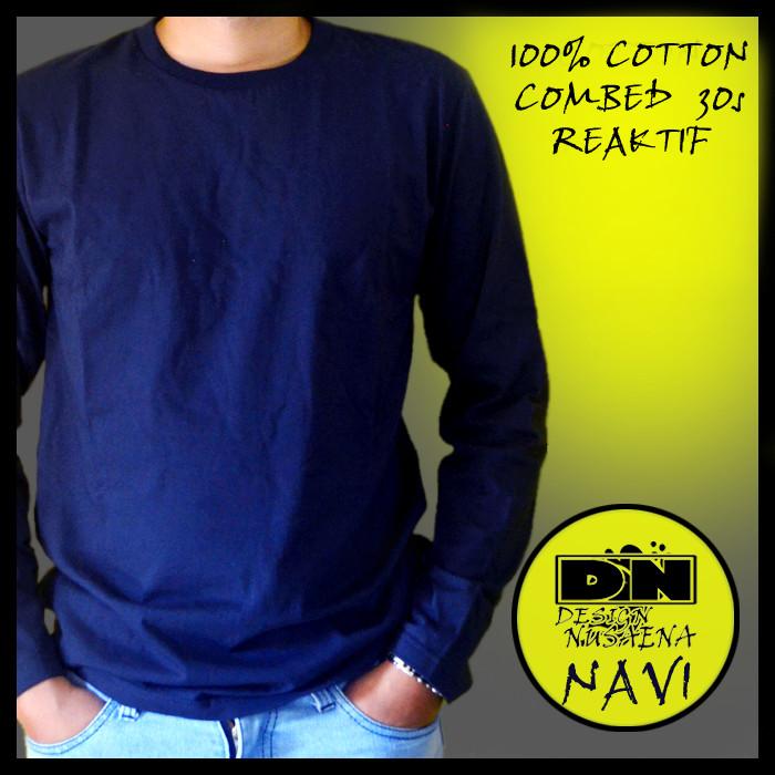 Jual Baju Kaos Polos Lengan Panjang Cotton Combed Reaktif 30s Navi Navy S Kab Bandung Design Nusaena Tokopedia