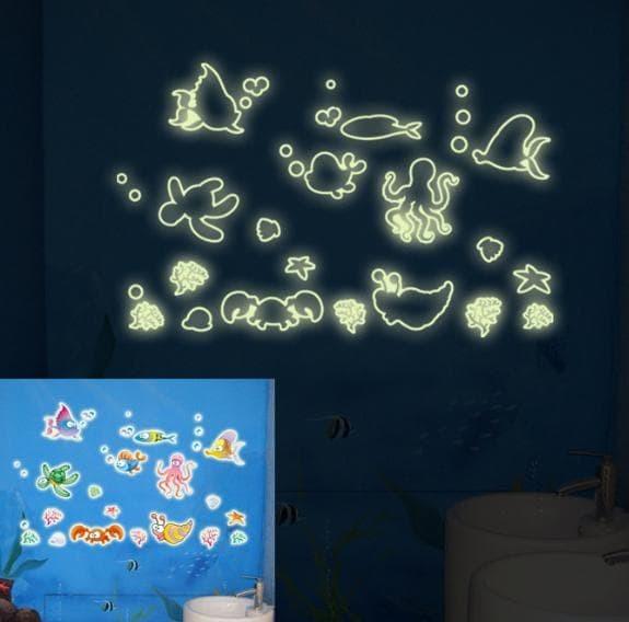 """jual set stiker dekorasi """"glow in the dark"""" motif kehidupan dasar"""