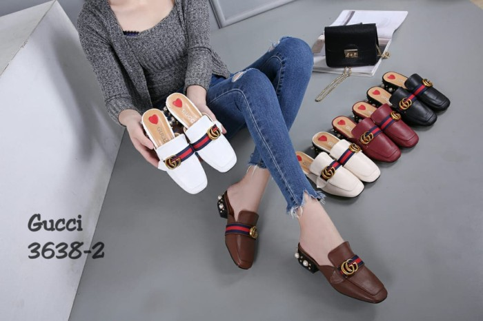 53db4b8c3 Jual Sandal Gucci Slip On Mid Heels Loafer Leather Semprem 3638-2 ...