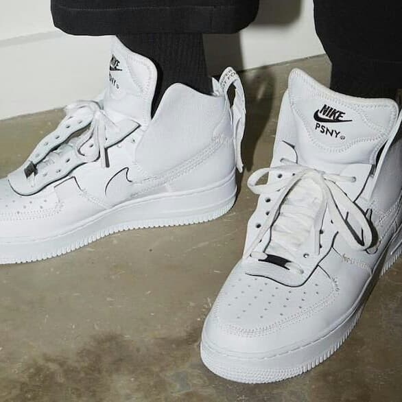 air force 1 high psny on feet