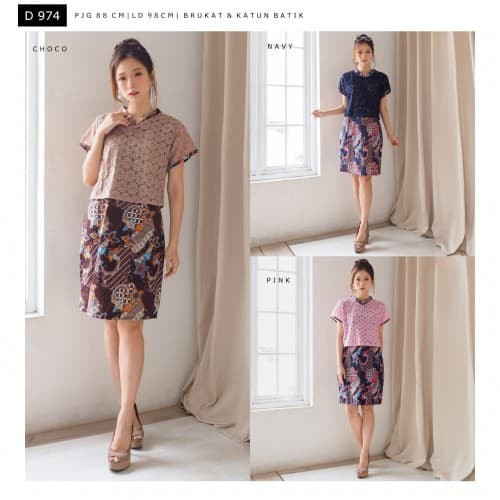 Dress batik brukat dress brukat batik wanita D974