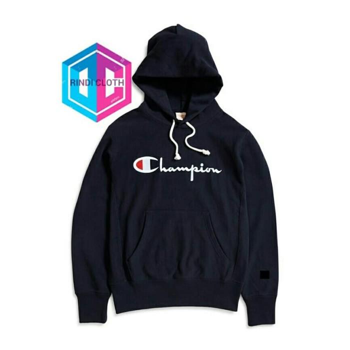 HOODIE / SWEATER CHAMPION - HITAM - RINDI CLOTH