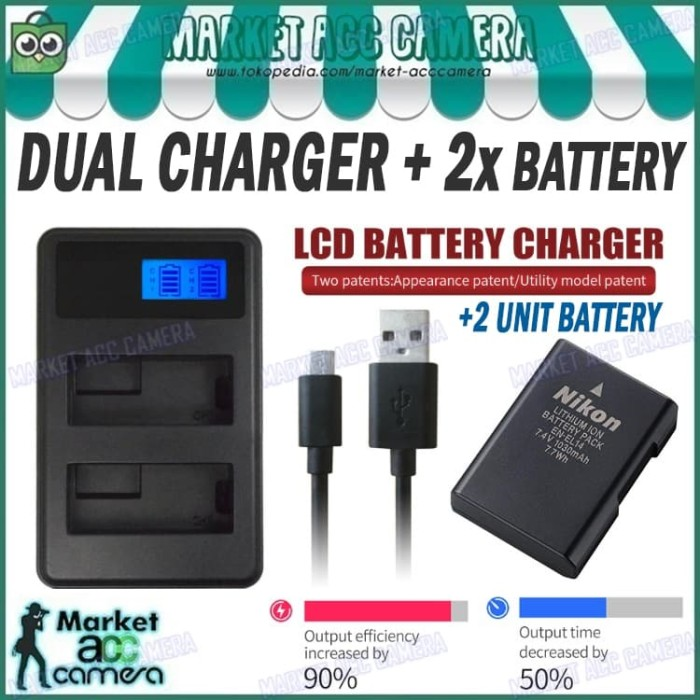 harga Lcd dual charger + 2x battery en-el14 (d3100/d3200/d5300/d5500/d5600) Tokopedia.com