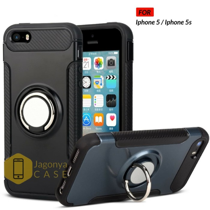 Foto Produk Case Iphone 5 / 5S Ultimate Carbon Ring Kickstand - Hitam dari Jagonya Case