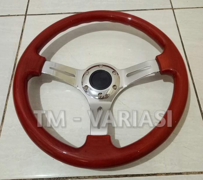 harga Stir racing wood colour import 14 inchi palang chrome premium Tokopedia.com