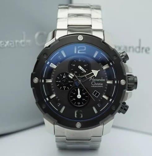 Jam tangan pria alexandre christie ac 6410 silver black original
