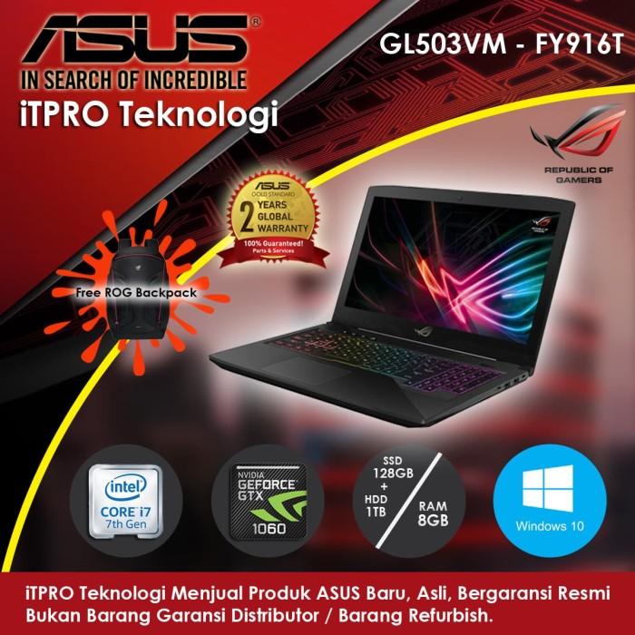 harga Asus rog gl503vm-fy916t - i7-7700hq8gb1tb+128ssdnvidia6gb15.6 w10 Tokopedia.com