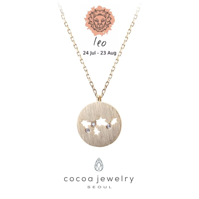 harga Korea cocoa jewelry korean necklace zodiak leo - kalung - emas Tokopedia.com