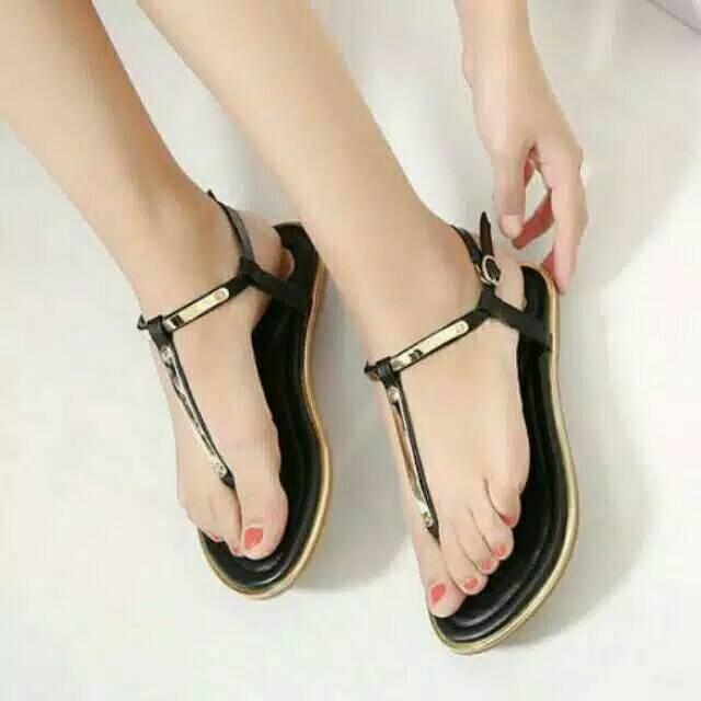 sandal jepit gold AA JG sendal wanita flat