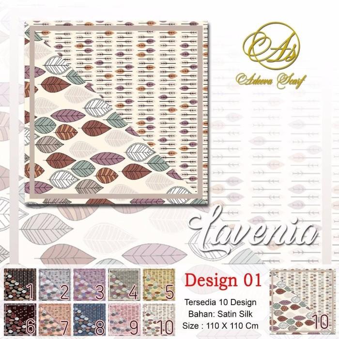 Jilbab segi empat satin motif bunga lavenia dua sisi - seri : 01