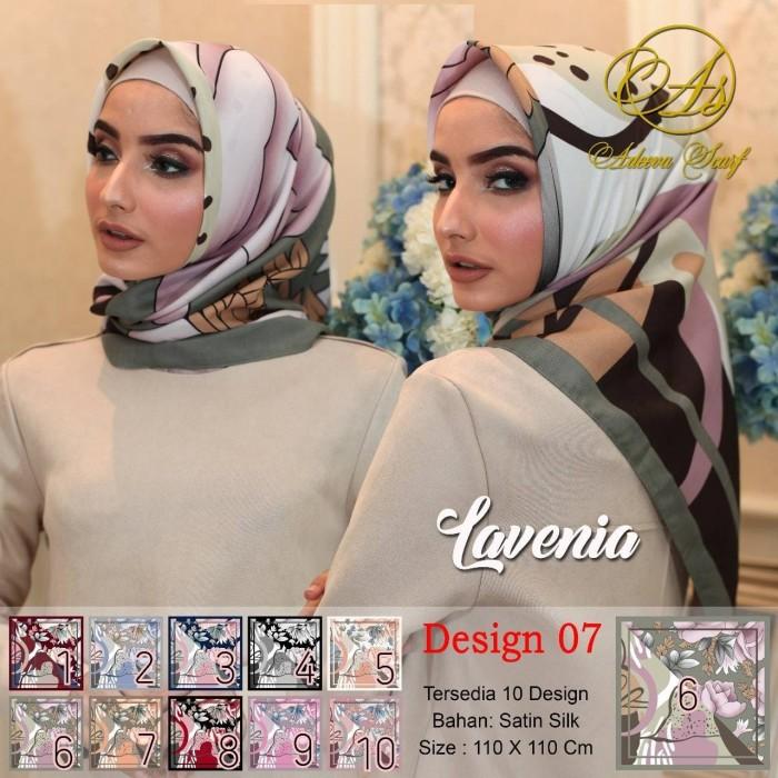 Jilbab segi empat satin motif bunga lavenia dua sisi - seri : 07