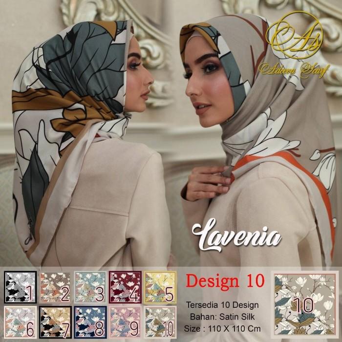 Jilbab segi empat satin motif bunga lavenia dua sisi - seri : 10