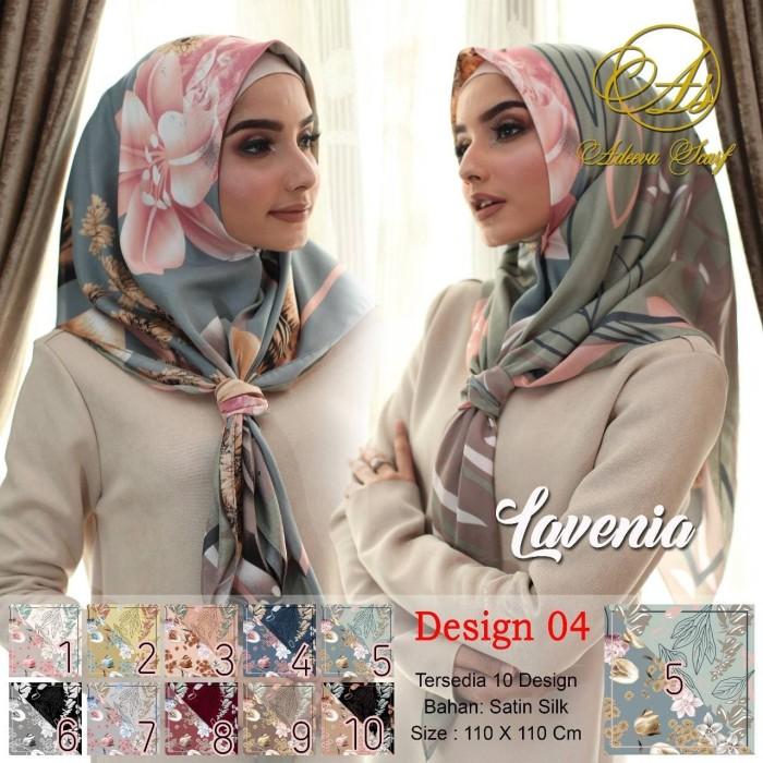 Jilbab segi empat satin motif bunga lavenia dua sisi - seri : 04