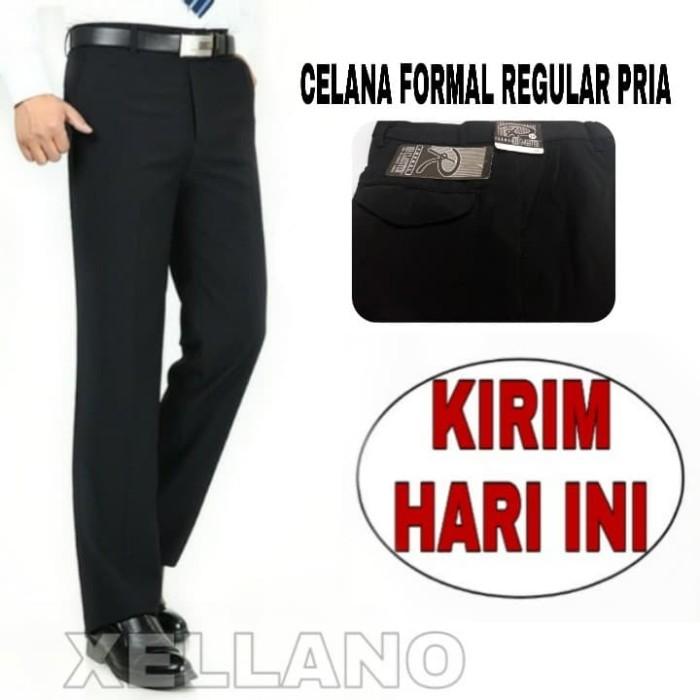 Foto Produk Celana Formal Kerja Pria Bahan Kain Twist Hitam Model Reguler Classter dari xellano