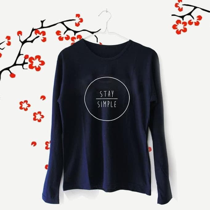 Tumblr Tee / T-Shirt / Kaos Wanita Lengan Panjang Stay Simple Navy