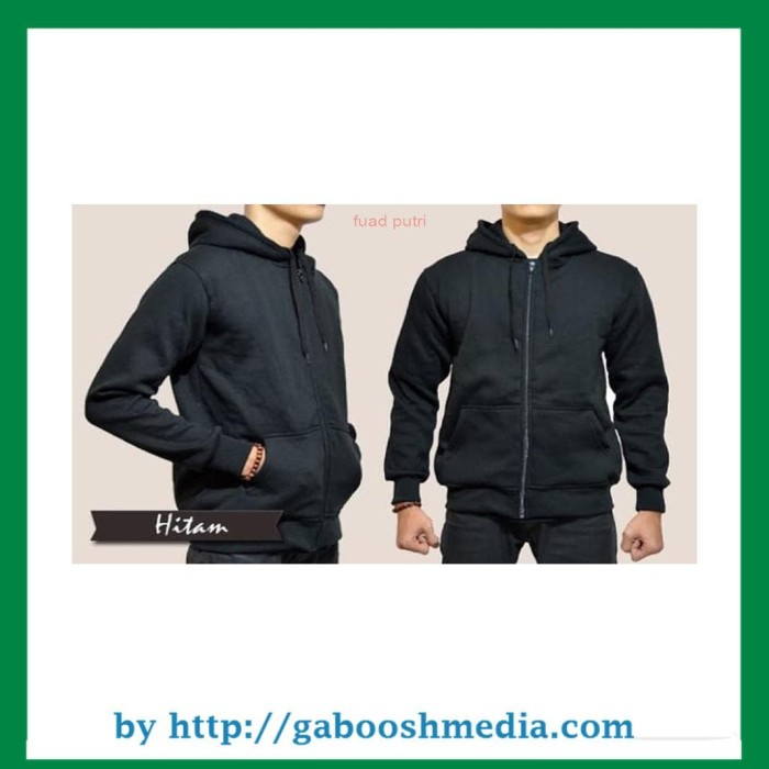 Size XXL - Jaket Sweater Hoodie Zipper Polos Hitam