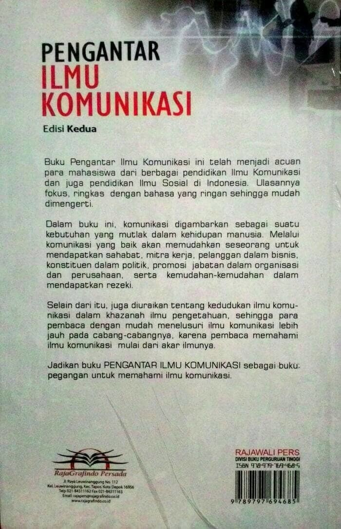 Buku PENGANTAR ILMU KOMUNIKASI/Hafied Cangara, Edisi kedua/buku