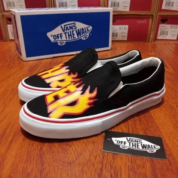 c96462a1f0 Jual VANS SLIP-ON THRASHER FLAME BLACK WHITE PREMIUM ORIGINAL ...