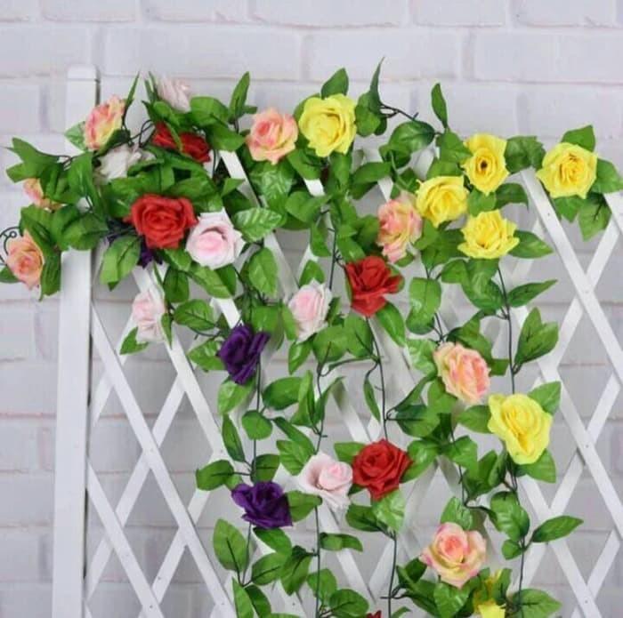Bunga Mawar Rambat Daun Artificial - Tanaman Hias Dekorasi