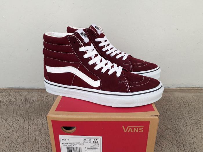 Jual Sepatu sneakers vans sk8 hi old skool maroon 40 - 44 ... d818b535a