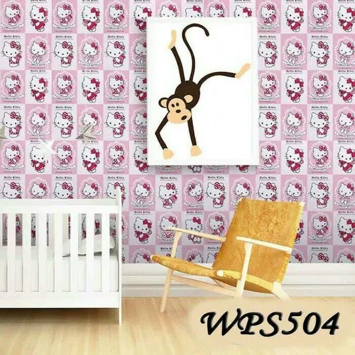 jual grosir murah-wallpaper sticker motif hellokitty pink keren 10m