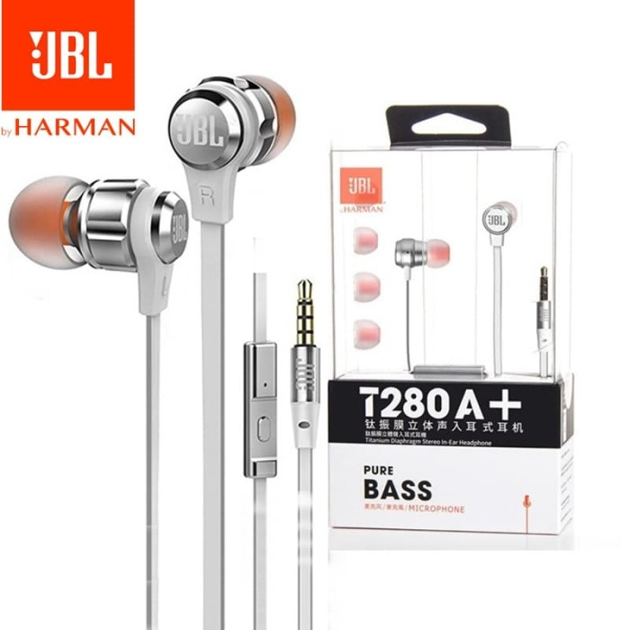 JBL T280 A+ Pure Bass with Microphone stereo in- Ear headphones - Hitam
