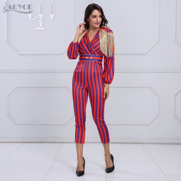 ae662387e151 Jual New Adyce New Runway Fringe Jumpsuits For Women 2018 Celebrity ...