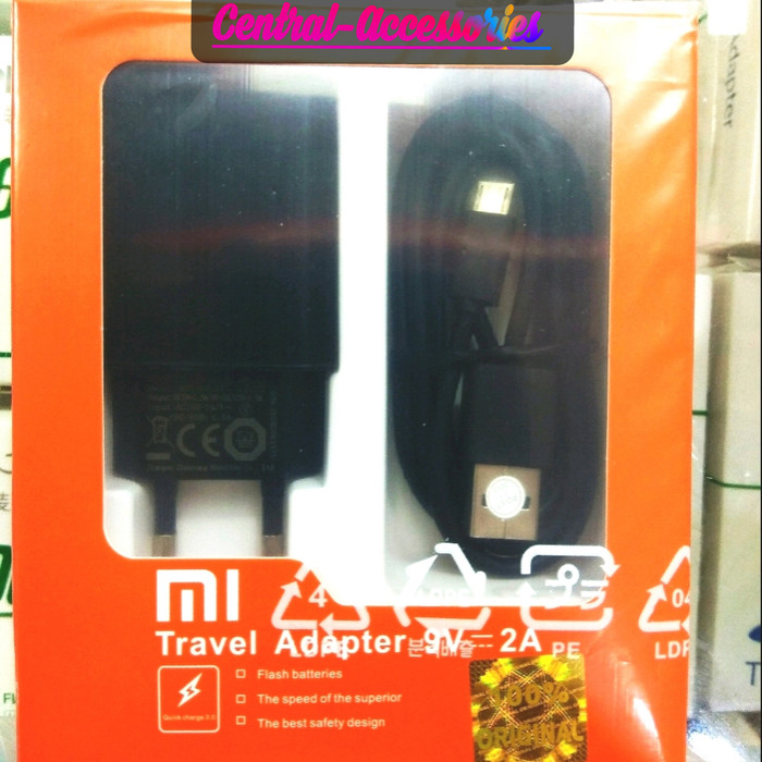 Charger Xiaomi Micro Fast Charging ORIGINAL 100% - 2.5A/5V & 2.A/9V - Hitam