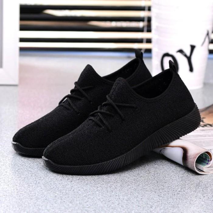Sepatu Kets Sneaker Yz - Sepatu Pria Dan Wanita- Sepatu Sport Korea - Hitam, 37