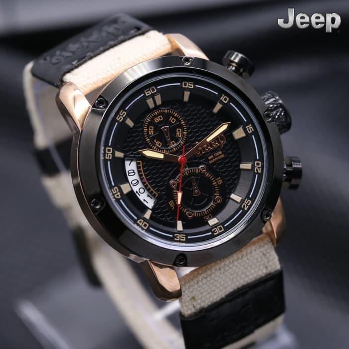Jual Jam Tangan Pria   Cowok Jeep Chrono Kanvas Cream Rose   KW ... 9c6e1c4828